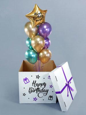 Коробка с шарами на День рождения Парня