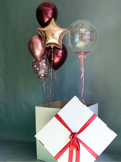 Коробка з кульками всередині «Для дівчини»