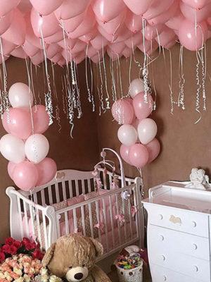 Оформление комнаты для новорожденного шарами «Pink»