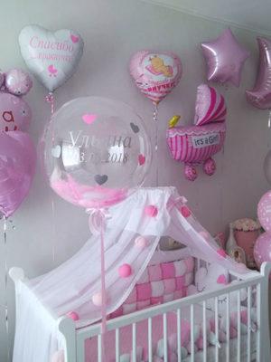 Украшение комнаты к выписке из роддома «Розовые тона»