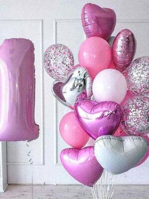 Фонтан из шаров на годик девочке «Большой сет»
