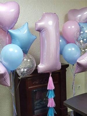 Фонтан из шаров на годик девочке «Розово - голубой»