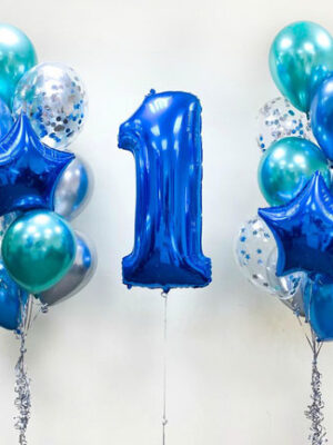 Композиція з повітряних кульок на 1 рік хлопчикові «Хром з цифрою»