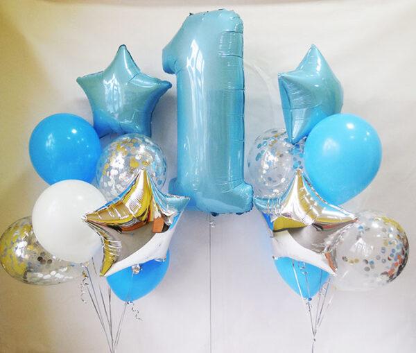 Композиція з повітряних кульок на рік хлопчикові «З кульками конфетті»
