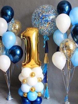 Набор шаров на 1 годик мальчику «Золотая цифра»