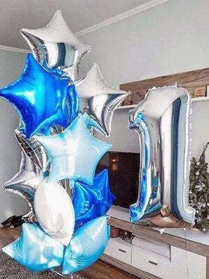 Набор шаров на годик мальчику «Голубое серебро»