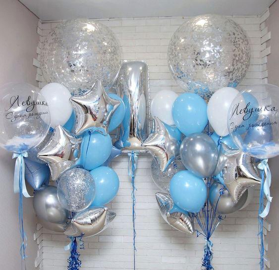 Кульки хлопчикові на 1 рік «Срібло-блакитний»