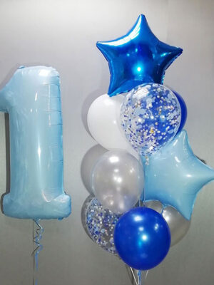 Шарики мальчику на годик «Голубая цифра»