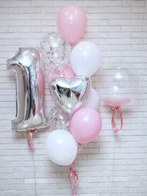 Шарики на 1 годик девочке «С розовыми перьями»
