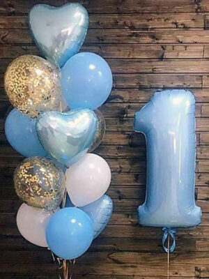 Кульки на 1 рік хлопчикові «Золото, білий, блакитний»