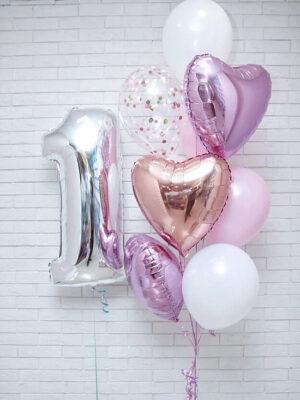 Шарики на один годик девочке «Розовый, белый, лавандовый»