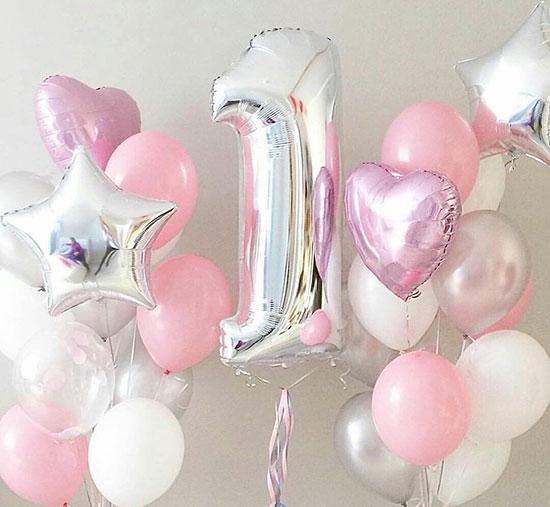 Шарики на один годик девочке «Розовый, серебро, белый»