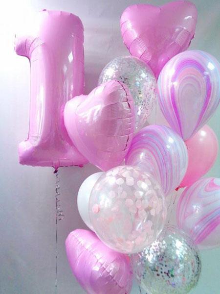 Шары на 1 год девочке «Розовый агат»