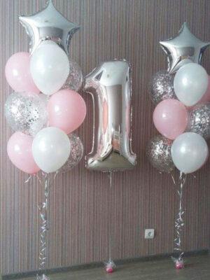 Шары на годовасие девочке «Розово - серебряные»