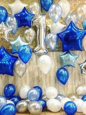 Украшение шарами на годик мальчику «Синие звезды»