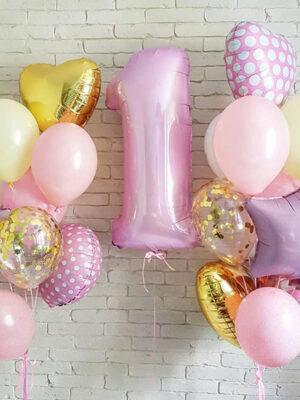 Воздушные шары на годик девочке «Горошек»