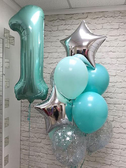 Гелиевые шарики на годик «Бирюза серебро»