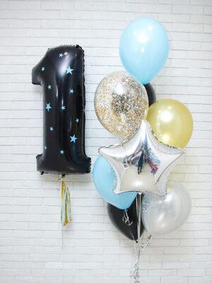 Гелиевые шары на 1 годик «Черные звезды»