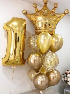 Шары на день рождения 1 год «Золотая корона»