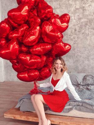 Набір з 50 червоних сердець для фотосесії