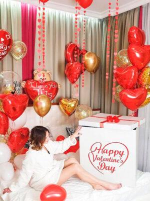 Шарики на День Святого Валентина украшение комнаты с коробкой