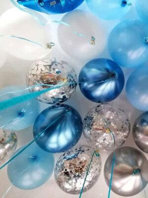 Гелиевые шарики под потолок «Индиго в серебре»