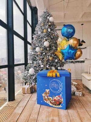 Коробка з кулями «Новорічний синій іній»
