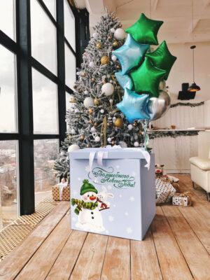 Коробка сюрприз з кулями «Новорічні фольговані зірки»