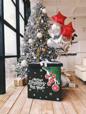Коробка сюрприз з кульками «Новорічні іскри щастя»