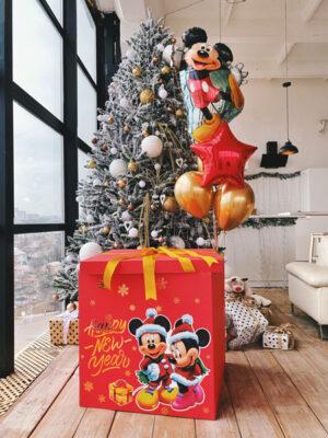 Коробка сюрприз з кульками «Новорічний Міккі Маус»