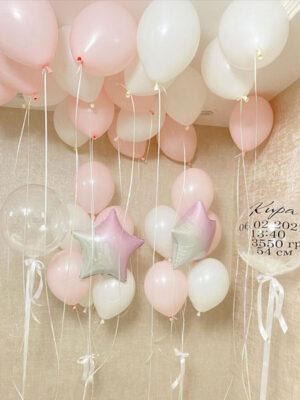 Шары на выписку для девочки «Нежно розовая россыпь»